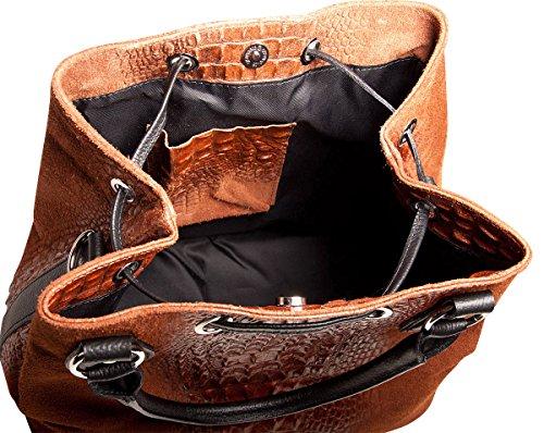 Pelle Italy Damen Henkeltasche Leder in Kroko-Prägung 33x27x17 cm (BxHxT), Farbe:Marone Marone