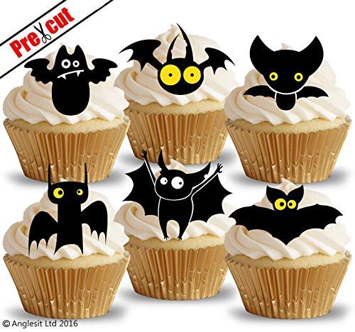 vorgeschnittenen Funny Fledermäuse essbarem Reispapier/Waffel Papier Cupcake Kuchen Topper Halloween Party Geburtstag (Cupcakes Halloween Dekoration)