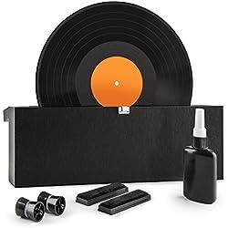 AUNA Vinyl Clean - Set d'entretien pour vinyles Machine à Laver Les disques vinyles LP EP (Tous formats de disques, Nettoyage Antistatique, Format Valise Compact et transportable Partout)