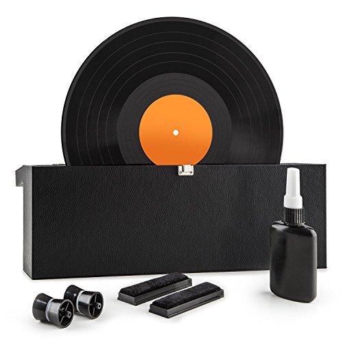 """AUNA Vinyl Clean - Schallplattenwaschmaschine, Vinyl Reinigungs und Pflegeset, für 7\"""", 10\"""" und 12\"""" Schallplatten, leichtgängiges Rollensystem, Flasche mit destilliertem Wasser und Tuch, schwarz"""