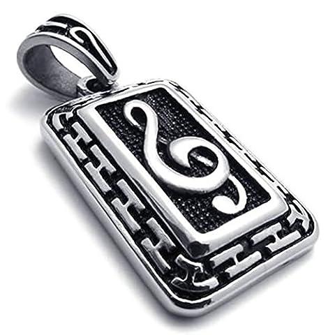 Aooaz Gravure Libre Pendentif Colliers Pour Hommes Tag Music Symbols Pendentif Necklaec 26 Pouces Promesse De Mariage