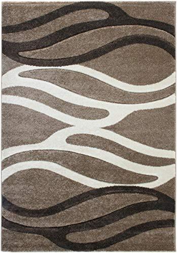 havatex Moderner Teppich Miami Streifen - Braun Kupfer Beige Grün | schadstoffgeprüft pflegeleicht schmutzabweisend strapazierfähig | Wohnzimmer Schlafzimmer, Farbe:Coffee, Größe:200 x 290 cm