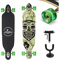"""(Certificación GS)Yorbay 41""""pulgadas tabla monopatín skateboard completo hecho con 9 capas de madera de arce canadiense Con T-herramienta y un soporte colgante de paredhasta 100kg (modelo 7/ruedas verdes led)"""