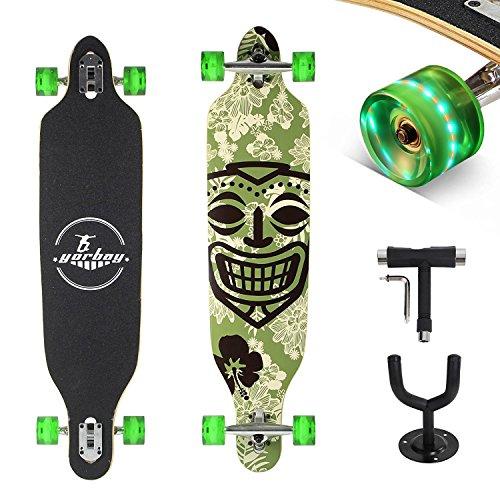 """(GS geprüft) Yorbay 41"""" Skateboard Longboard kanadischen Ahornholz Cruiser Board Komplett Fertig Montiert 180kg mit T-Tool und Wandhalter(Modell Grün Hawaii Räder Grün mit LED)"""