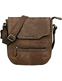 LEADERACHI Hunter Leather Messenger Bag [Sassari-Muskat]