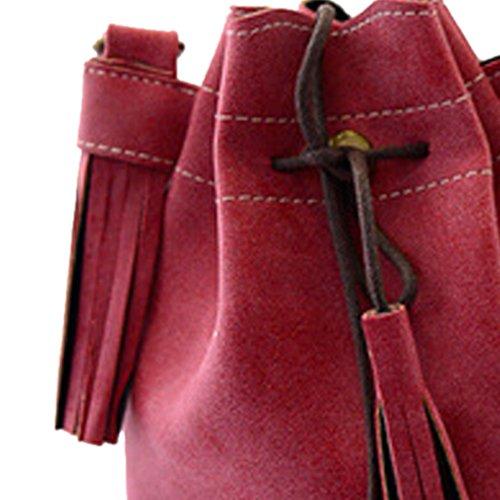 SODIAL(R) Borsa delle donne sacchetto di spalla della borsa di modo della nappa della borsa della borsa del messaggero delle donne della rappezzatura di cuoio della borsa viola rosse