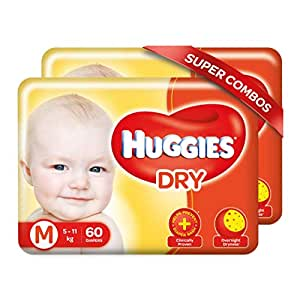 Huggies New Dry, Taped Diapers, Medium Size Combo Pack of 2, 60 Counts Per Pack, 120 Counts