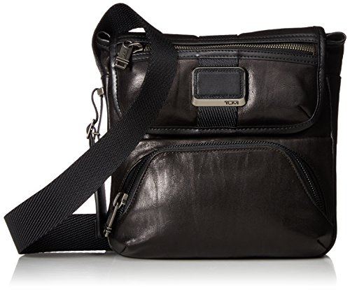 Tumi Alpha Bravo Barton Leather Crossbody Bolso Bandolera, 24 cm, Negro (Black Leather)