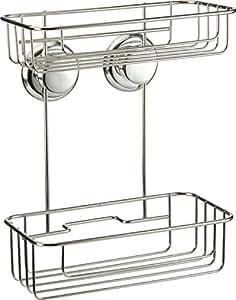 Galedo - Etagère de salle de bain 2 niveaux - métal - sans perçage