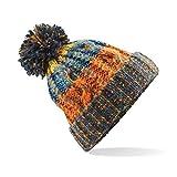 583 Winter Bobble Hat Beanie - Ski Snowboard Chunky Knit Unisex Men's Women's (One Size (Adults), Orange Retro)
