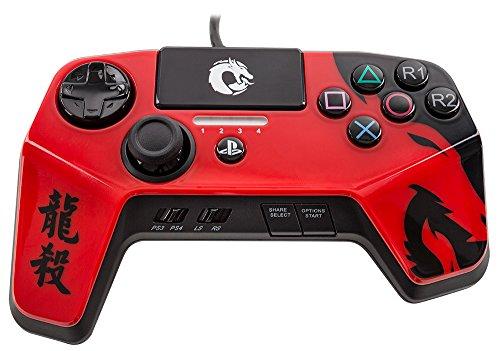 DRAGON SLAY FightPad Elite für Playstation 4 und Playstation 3 - Offiziell lizenziert von Sony - Rot (Mortal Kombat Dragon)
