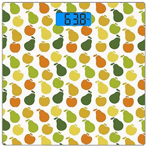Precision Digital Body Weight Scale Früchte Ultra Slim Gehärtetes Glas Personenwaage Genaue Gewichtsmessungen, Apfel und Birnen Lebensmittel Botanik Frischer gesunder Garten Leckeres Thema Dekorativ, -