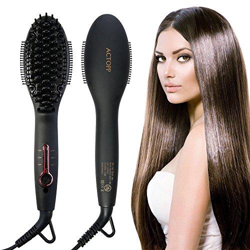 Haarglätter Bürste ACTOPP Mini 2 in 1 Glättungsbürste MCH Glätteisen Keramische Heizung für alle Haartypen Hair Straighteners Elektrische Glättbürste Stylingbürste Haarglättung Haarbürste
