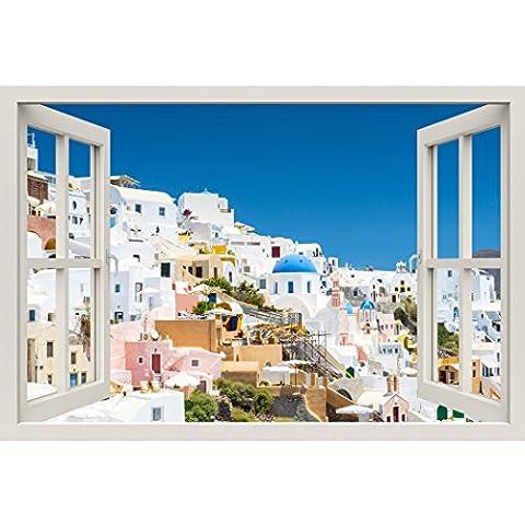 Fensterrahmen Wandbild Blick auf Santorini–Große Größe–schälen und Stick Stoff Illusion 3D Wand Aufkleber Foto (Illusion Glas Schiff)