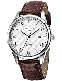 DISTRICT London Business Edition Men's Luxury Quartz Calendar Watch with White Dial Analogue Display and Leather Strap,Classic Design, Dress Watch, Water resistant Wristwatch with Stainless Steel Case