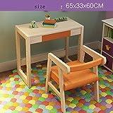 Zhuozi FUFU Tische Höhenverstellbarer Kinderschreibtisch mit Stuhl-hölzerner ergonomischer Schreibtisch-Kind-Study Table School Desk Chair Drop-Blatt-Tabelle (Farbe : Orange, größe : 65 * 33 * 60cm)