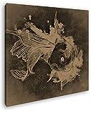 deyoli Zeichnung eines Koi Karpfen Format: 70x70 Effekt: Sepia als Leinwandbild, Motiv auf Echtholzrahmen, Hochwertiger Digitaldruck mit Rahmen, Kein Poster oder Plakat