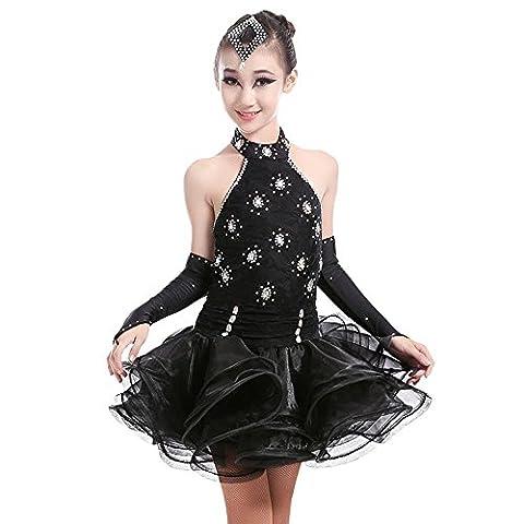 YI WELT Frau tanzen Kleidung Mädchen Lateinischer Tanz Kleid Kurze Ärmel Baumwolle Quaste schwarz rot Grün , black , 130cm