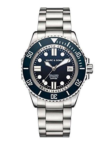 Marc & Sons 500m da immersione blu ETA 2824-2automatico, Vetro...