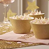 Ginger Ray Gold Sparkle Wedding / Party Cupcake Wraps - Pastel Perfection