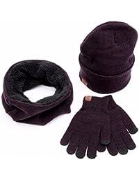3Pc Invierno Gorro de Punto Suave Bufanda Pantalla Guantes Conjuntos Para  Hombre o Mujer - OXOK 7640650fec9