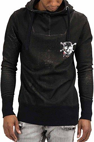 trueprodigy Casual Herren Marken Sweatshirt mit Aufdruck, Oberteil cool und stylisch mit Kapuze (Langarm & Slim Fit), Hoodie für Männer bedruckt, Größe:L, Farben:Schwarz