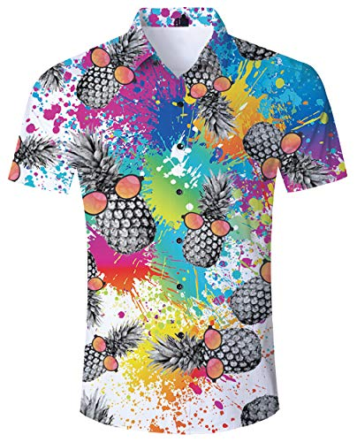 ALISISTER Tropical Hawaiihemd Herren 3D Graffiti Ananas Muster Urlaub Herren Button Down Hawaii Hemd Kurzarm Fancy Hawaii T-Shirt Lustige Party Anzug für Männer XXL