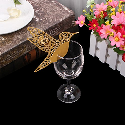 rawuin 50x Pigeon Tisch-Weinglas mit Karte, Hochzeit, Baby Dusche Party Weinglas-Dekoration (# 011) gold