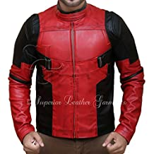 b44007257fd Para hombre Chaqueta de piel auténtica Deadpool Ryan Reynolds