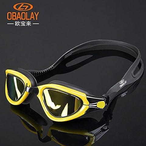 MCCOutdoor Occhialini da nuoto in silicone per articoli scatola impermeabile e anti-fog occhialini da nuoto, Yellow