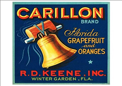 'Carillon Brand - Florida Grapefruit And Oranges' - Beautiful Print Taken From A Vintage Produce Crate Label