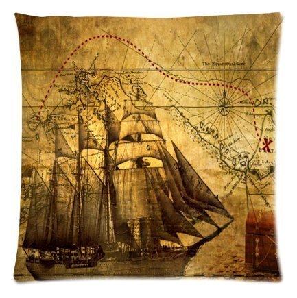 Amy like Pillowcases cute Nautical vintage Sailing Pirate Ship Lightweight Square zippered federa 40,6x 40,6cm (due lati)