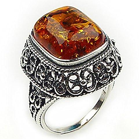 Noda Baltic Honey Amber Sterling Silver Filigree Ring Size T