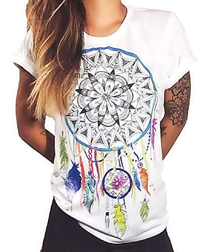 Talla XL - Camiseta - Camisa - Camiseta - Manga Corta - atrapasueños - Adultos - Mujer - Hombre - Color Blanco - Plumas de Mandala atrapasueños - símbolo Espiritual - Cosplay Dreamcatcher