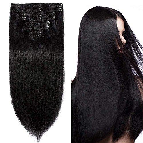 Clip in Extensions Echthaar günstig Haarverlängerung Remy Echthaar 8 Tressen 18 Clips Glatt 45cm-100g(#1 Schwarz)