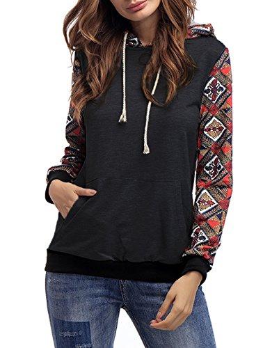 Femme Automne Encapuchonné Sweatshirt Décontractée Mode Sweats à Capuche à Manches Longues Sportswear Hooded Chemisiers Tops Noir