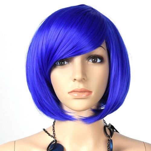 Damen Bob Bobo Perücke Perücken Wigs Kurz Glatt Cosplay Partei Show Blau - Mall World Halloween