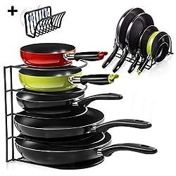 Masthome Porte-Casseroles Support Rangement Cuisine à 5 Couches- Range Poêle en Acier Inoxydable Rangement Poêle Casserole
