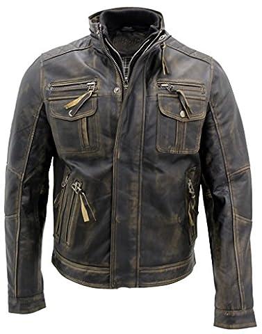 Noir chaud Vintage Brando Veste motard en cuir pour hommes 2XL