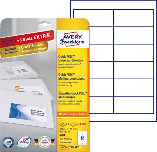 Preisvergleich Produktbild Avery Zweckform 4781 Adressetiketten (A4, 300 Plus 60 Etiketten extra, 97 x 42,3 mm) 30 Blatt, weiß