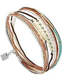 Bracelet Multi,tours Amérindien (argenté), Zag bijoux