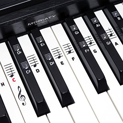 Klavier + Keyboard Noten-Aufkleber ★ [DEUTSCHE VERSION + eBook] für Instrumente mit 49 | 61 | 76 | 88 Tasten ★ Piano Sticker für weiße & schwarze Tasten + E-Book (88 Keyboards Piano)