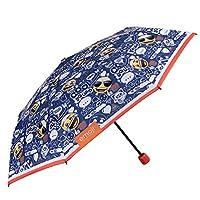 Emoji Children Folding Umbrella - Mini Emoticons Brolly Boys Girls - Blue with Orange Details - Light and Windproof in Fiberglass - High Quality - PFC Free - Manual Opening - Diam 91 cm - Perletti