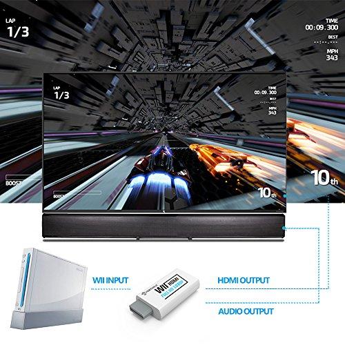 Convertidor Wii a HDMI Wii2HDMI 720P/ 1080P PORTHOLIC Full HD Adaptador con Cable HDMI con Salida de Audio de 3 5 mm y Puerto HDMI para Nintendo wii wii HDTV Proyector Beamer Monitor (Blanco)