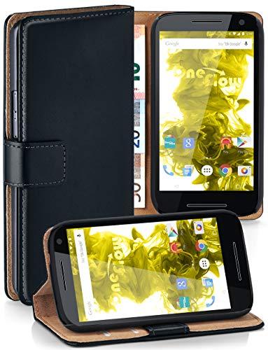 moex® Booklet mit Flip Funktion [360 Grad Voll-Schutz] für Motorola Moto G3 | Geldfach & Kartenfach + Stand-Funktion & Magnet-Verschluss, Schwarz