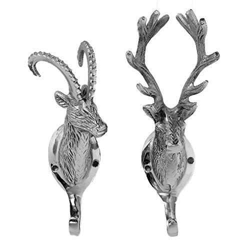 Juego de 2-Perchero ciervo y Capricornio metal ganchos de caza de casa de los corazones®