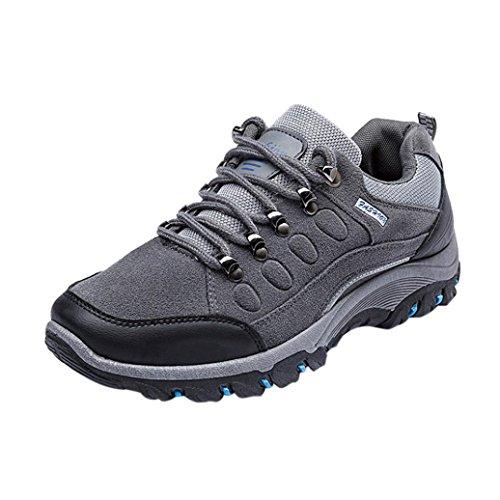 Herren Sportschuhe,Männer Turnschuhe Wandern beiläufige Wasserdichte Sport Anti-Rutsch-Schuhe im Freien Laufschuhe Verschleißfest Atmungsaktiv Schuhe (EU:43/CN:44, Grau)