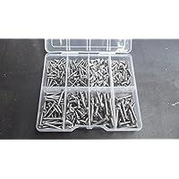 Juego de tornillos autorroscantes avellanados de acero inoxidable A2-70, 240 unidades, caja con compartimentos