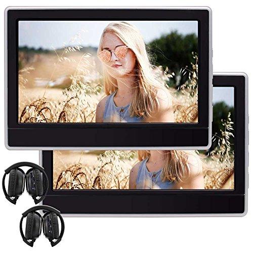 Lecteur DVD portable double de 11,6 pouces 1366 * 768 HD ¨¦cran tactile voiture lecteur DVD T¨ºti¨¨re int¨¦gr¨¦ Haut-parleur support HDMI USB SD FM IR AV In / sortie, t¨¦l¨¦commande avec 2 PCS casque