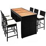 Poly Rattan Sitzgruppe Bar Set 6+1 I 7cm dicke Auflagen I Tischplatte Akazie I Waschbare Bezüge - Sitzgarnitur Gartenmöbel